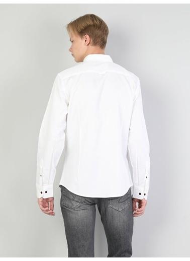Colin's Colins Cl1044109 Slim Fit Shirt Neck Erkek Erkek Uzun Kol Gömlek Beyaz